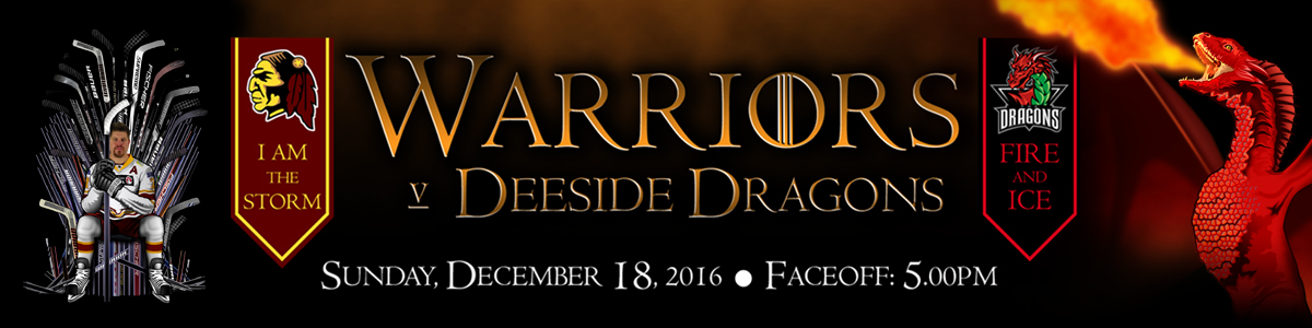 Whitley Warriors vs Deeside Dragons @ Whitley Bay Ice Rink - Sunday 18 December 2016, face off 5pm