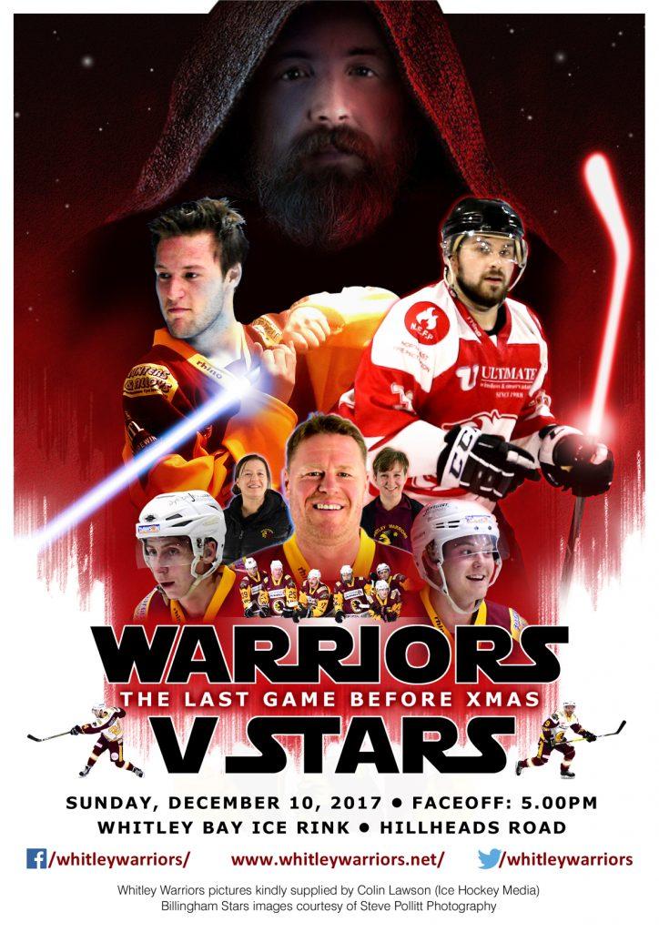 Whitley Warriors vs Billingham Stars @ Whitley Bay Ice Rink, Sunday 10 December 2017, face off 5pm