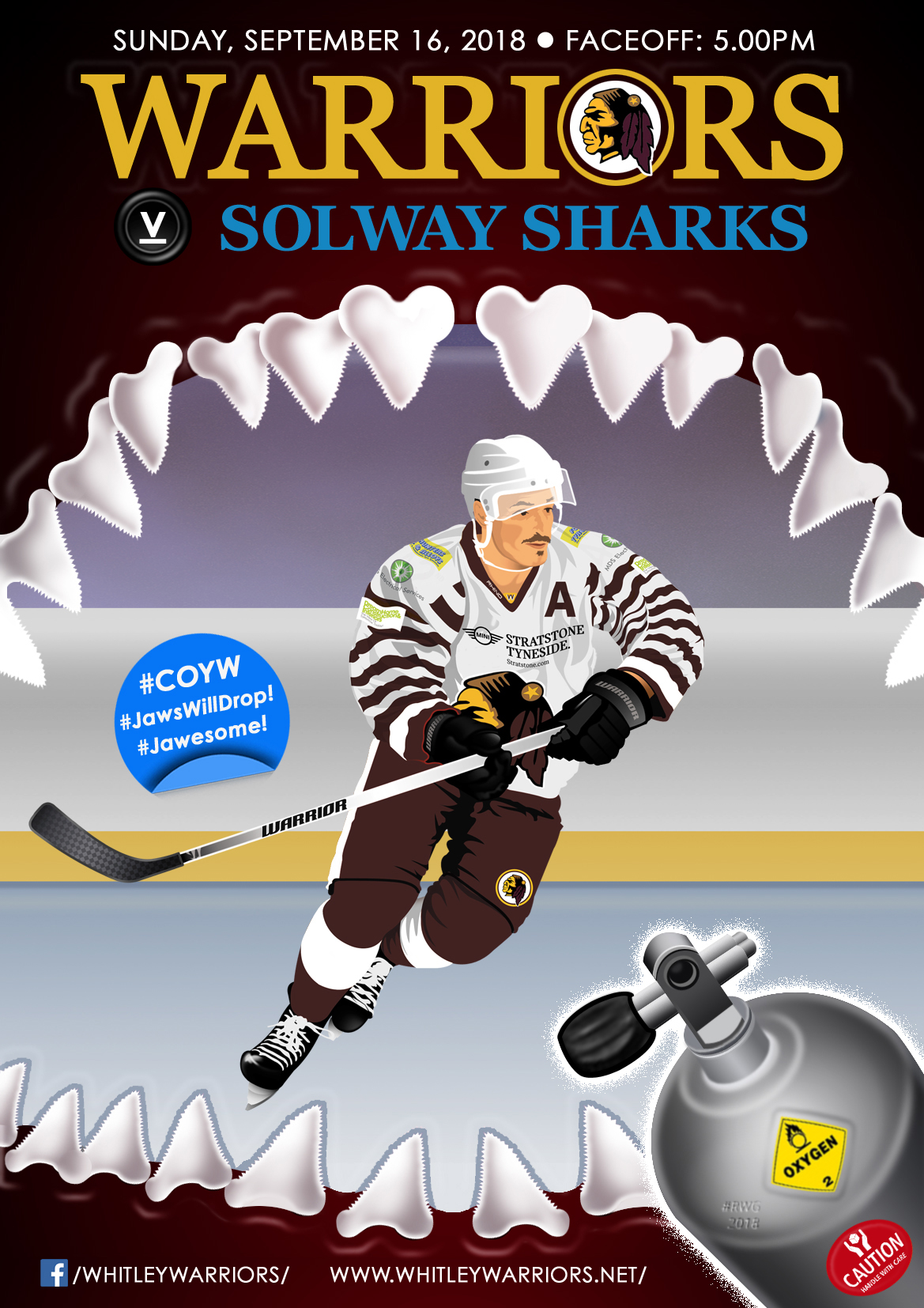 Whitley Warriors vs Solway Sharks @ Whitley Bay Ice Rink, Sunday 16 September, face off 5pm