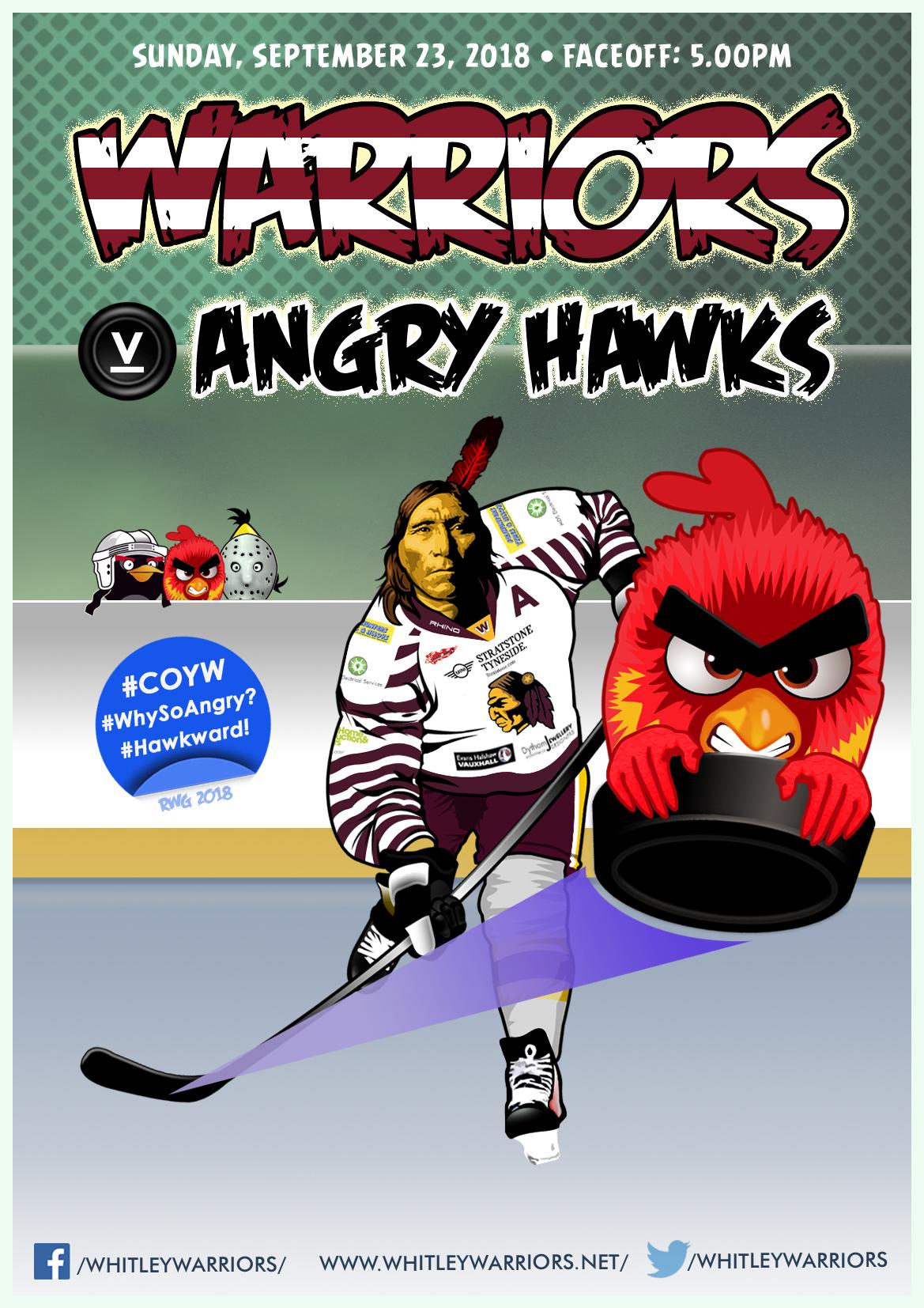 Whitley Warriors vs Blackburn Hawks @ Whitley Bay Ice Rink, Sunday 23 September, face off 5pm