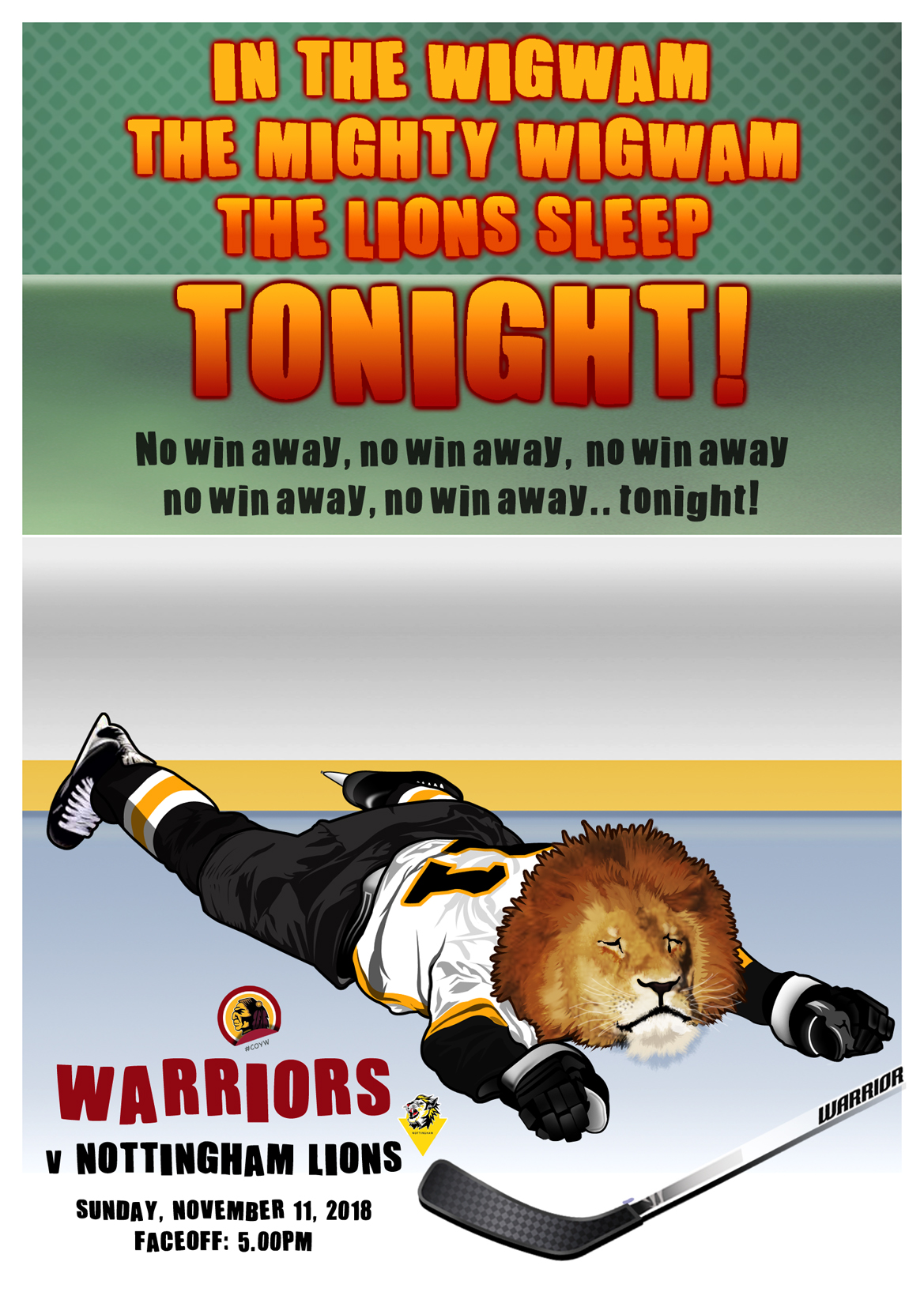 Whitley Warriors vs Nottingham Lions @ Whitley Bay Ice Rink, Sunday 11 November, face off 5pm
