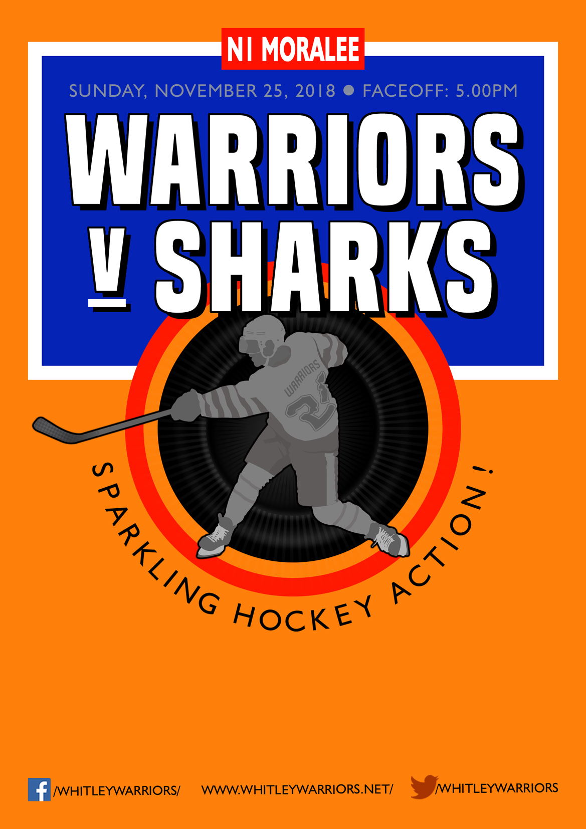 Whitley Warriors vs Solway Sharks @ Whitley Bay Ice Rink, Sunday 25 November, face off 5pm