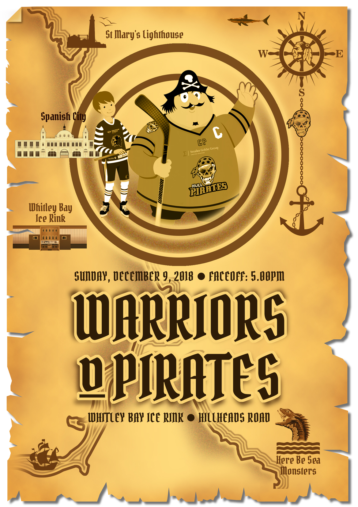 Whitley Warriors vs Hull Pirates @ Whitley Bay Ice Rink, Sunday 9 December, face off 5pm
