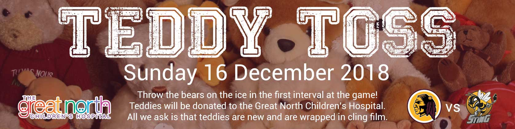 Whitley Warriors vs Sutton Sting @ Whitley Bay Ice Rink, Sunday 16 December, face off 5pm - Teddy Toss game!