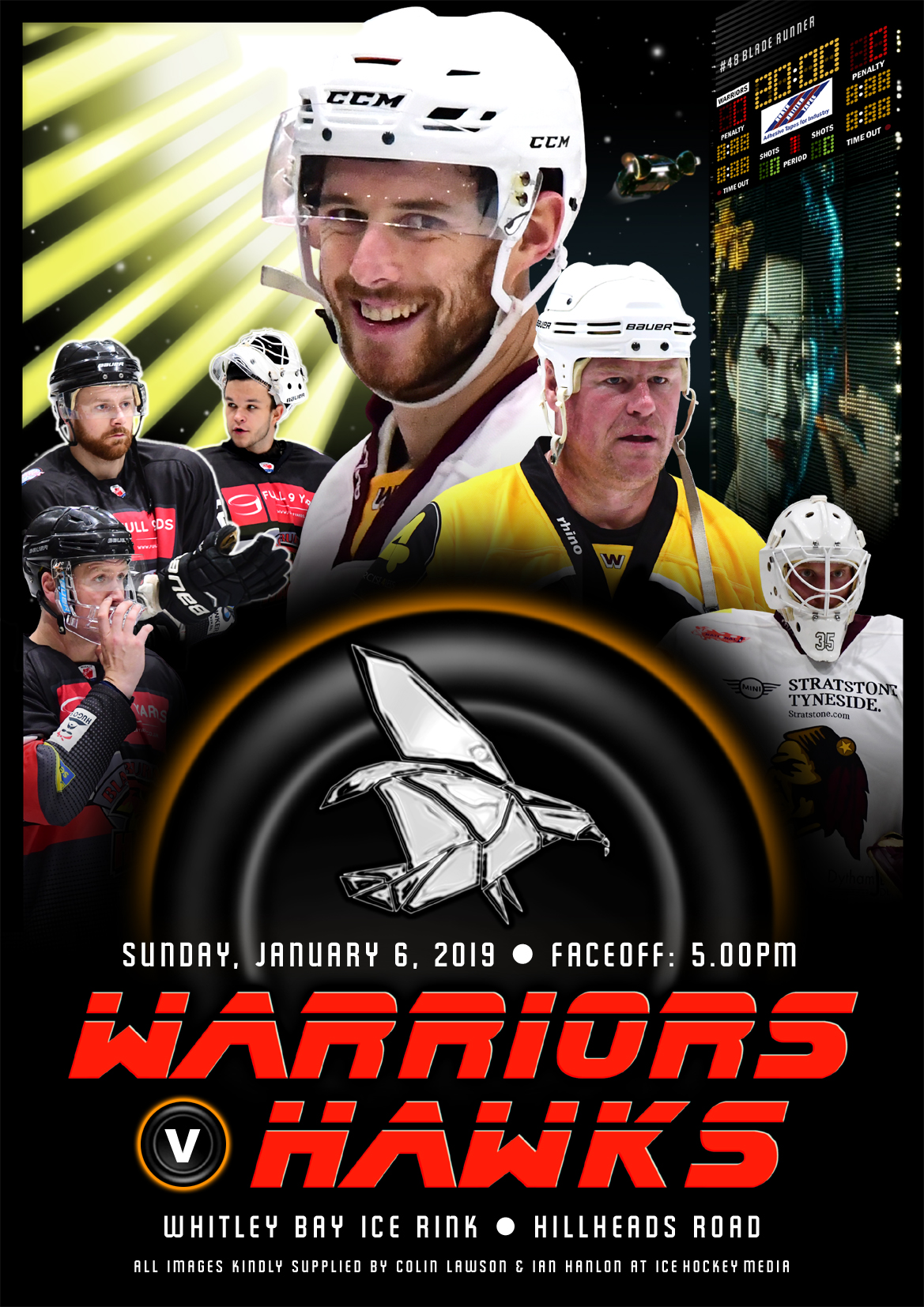 Whitley Warriors vs Blackburn Hawks @ Whitley Bay Ice Rink, Sunday 6 January, face off 5pm