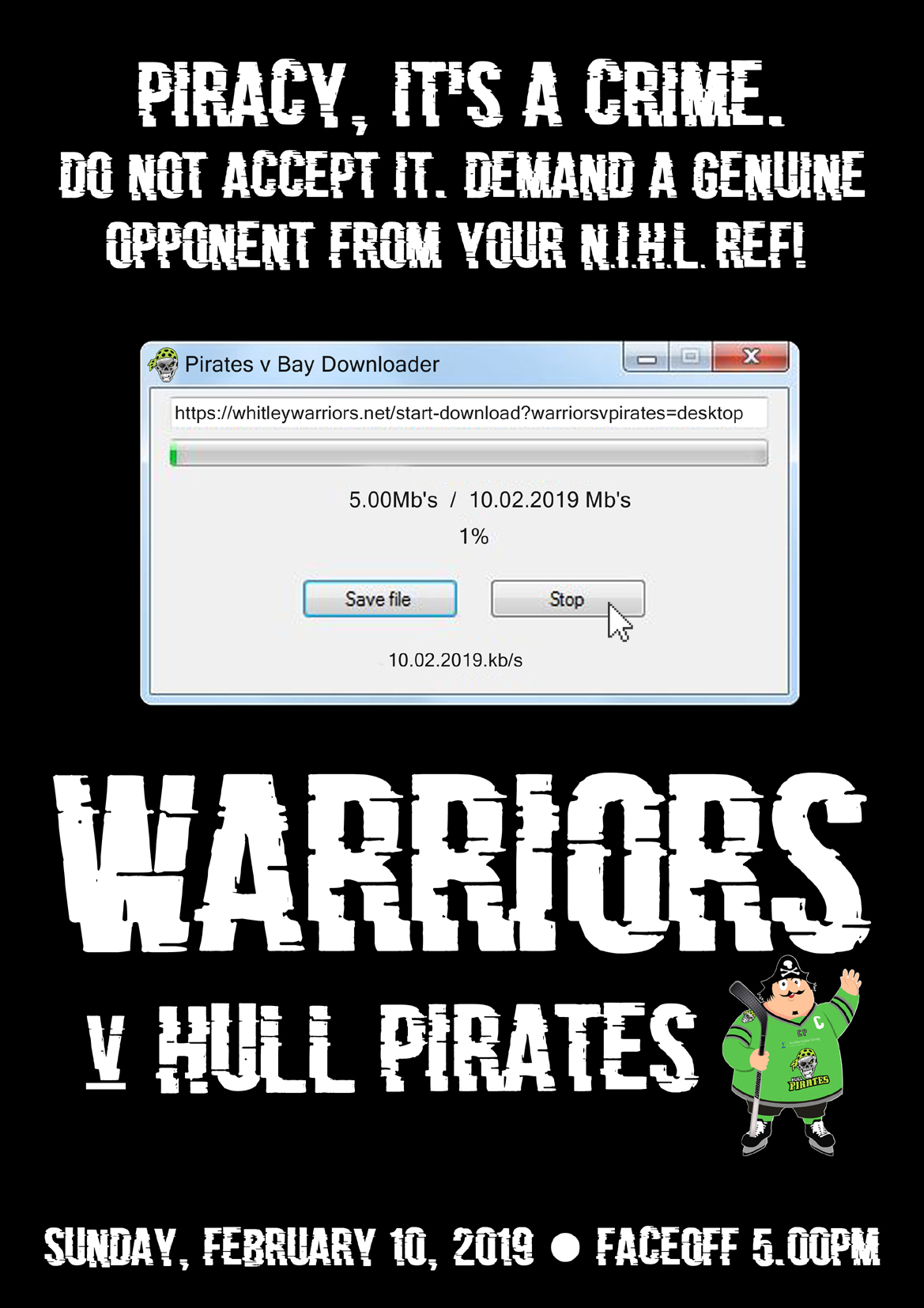 Whitley Warriors vs Hull Pirates @ Whitley Bay Ice Rink, Sunday 10 February, face off 5pm