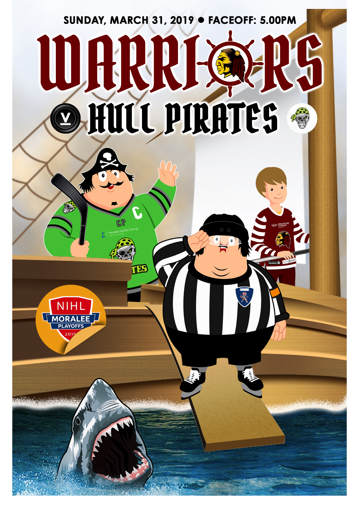 Whitley Warriors vs Hull Pirates @ Whitley Bay Ice Rink, Sunday 31 March 2019, face off 5pm