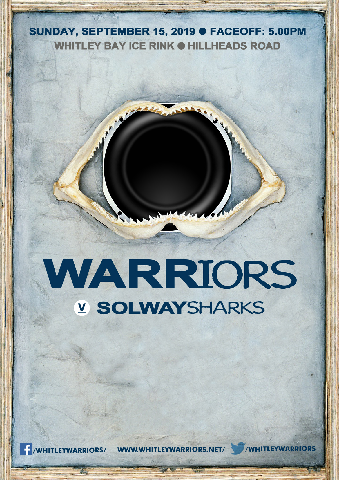 Whitley Warriors vs Solway Sharks @ Whitley Bay Ice Rink, Sunday 15 September 2019, face off 5pm