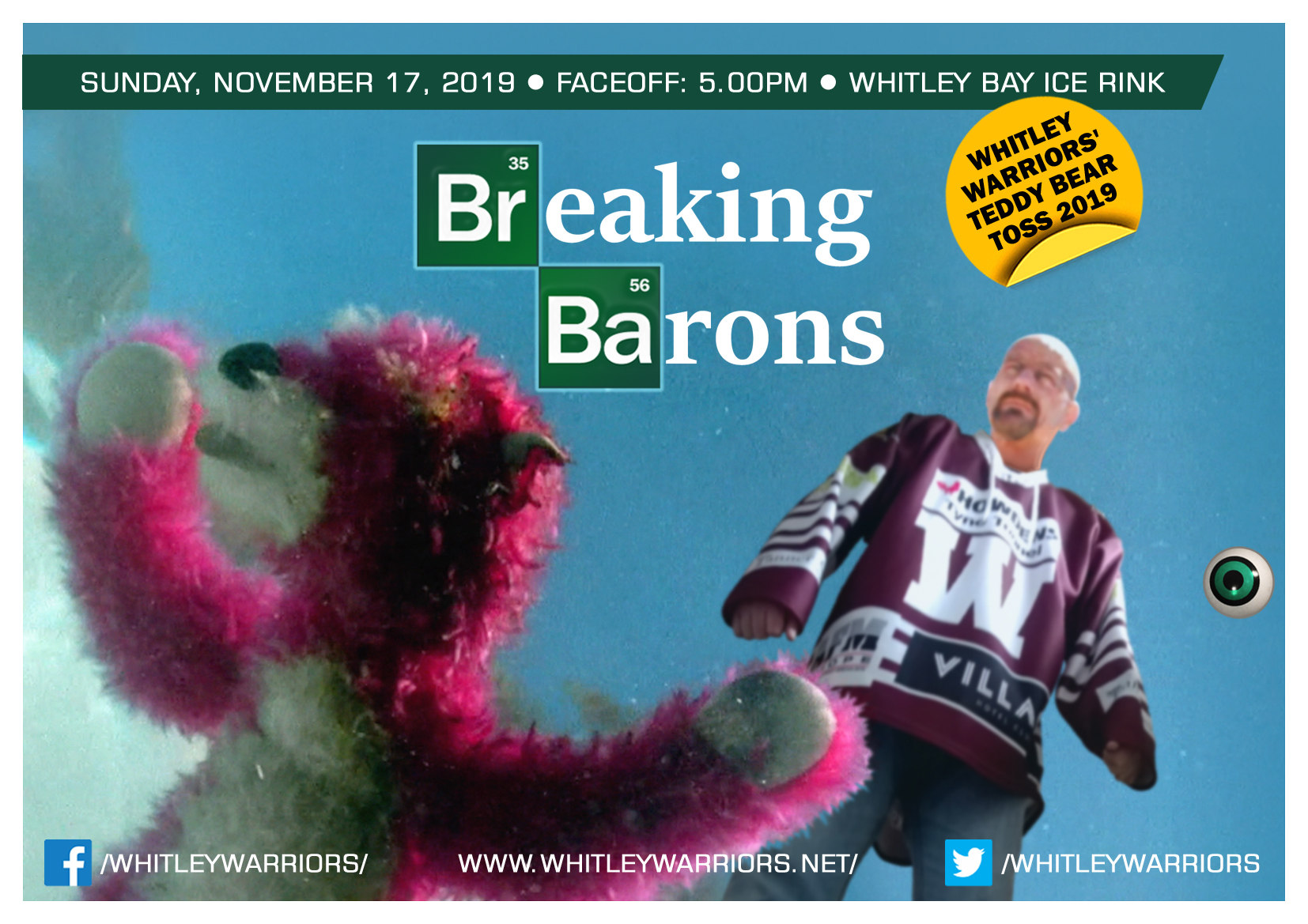 Whitley Warriors vs Solihull Barons @ Whitley Bay Ice Rink, Sunday 17 November 2019, face off 5pm - the teddy toss game!