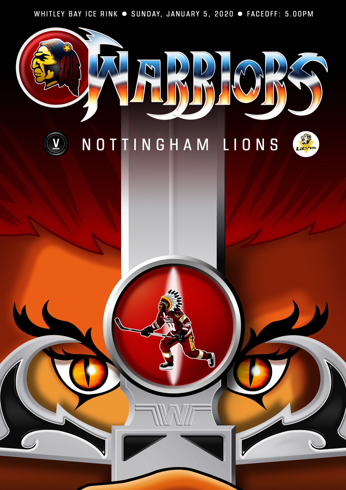 Whitley Warriors vs Nottingham Lions @ Whitley Bay Ice Rink, Sunday 5 January 2020, face off 5pm