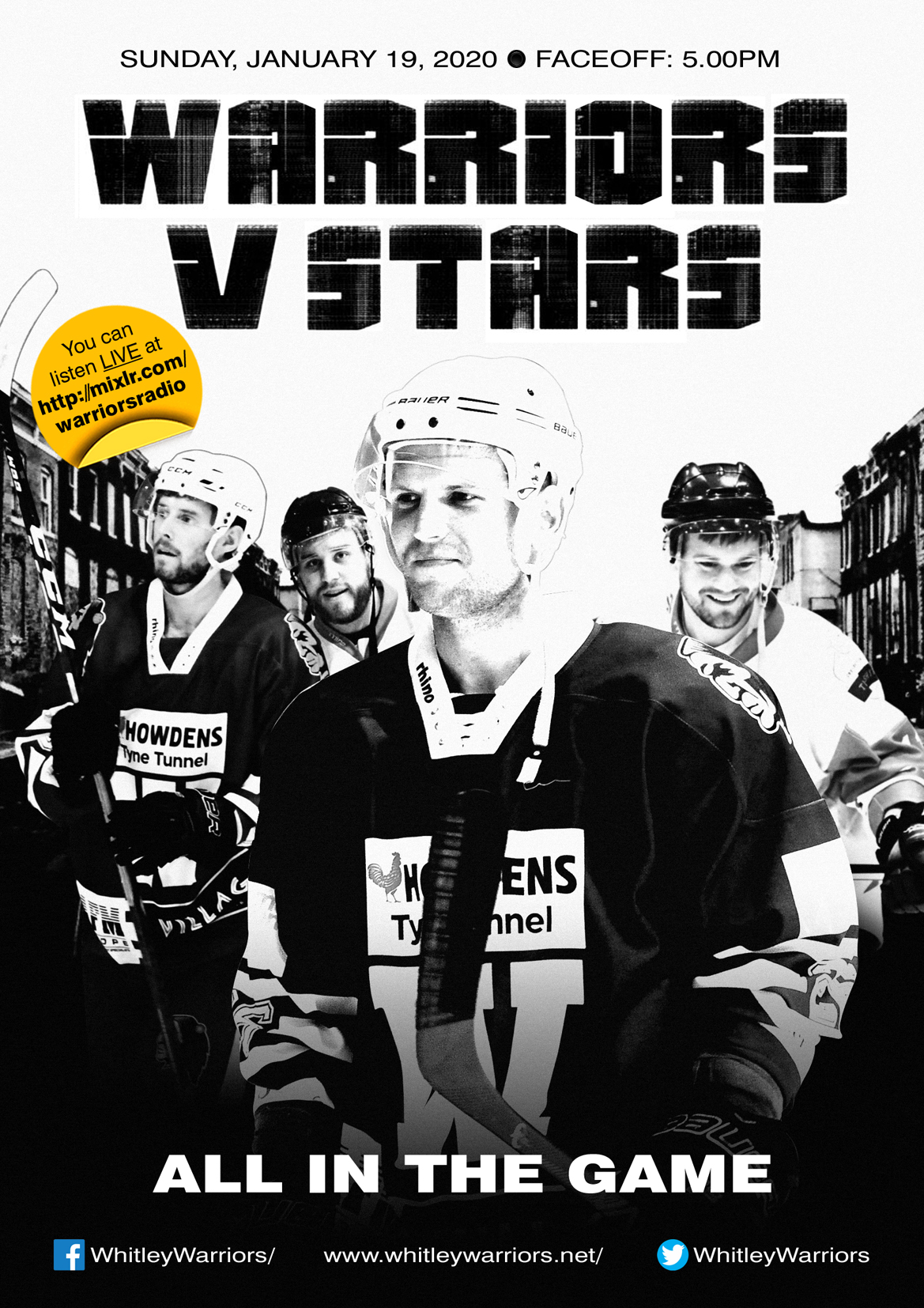 Whitley Warriors vs Billingham Stars @ Whitley Bay Ice Rink, Sunday 19 January 2020, face off 5pm
