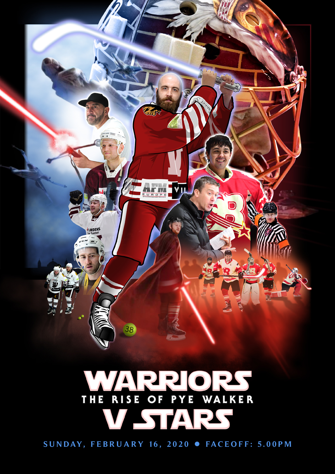Whitley Warriors vs Billingham Stars @ Whitley Bay Ice Rink, Sunday 16 February 2020, face off 5pm