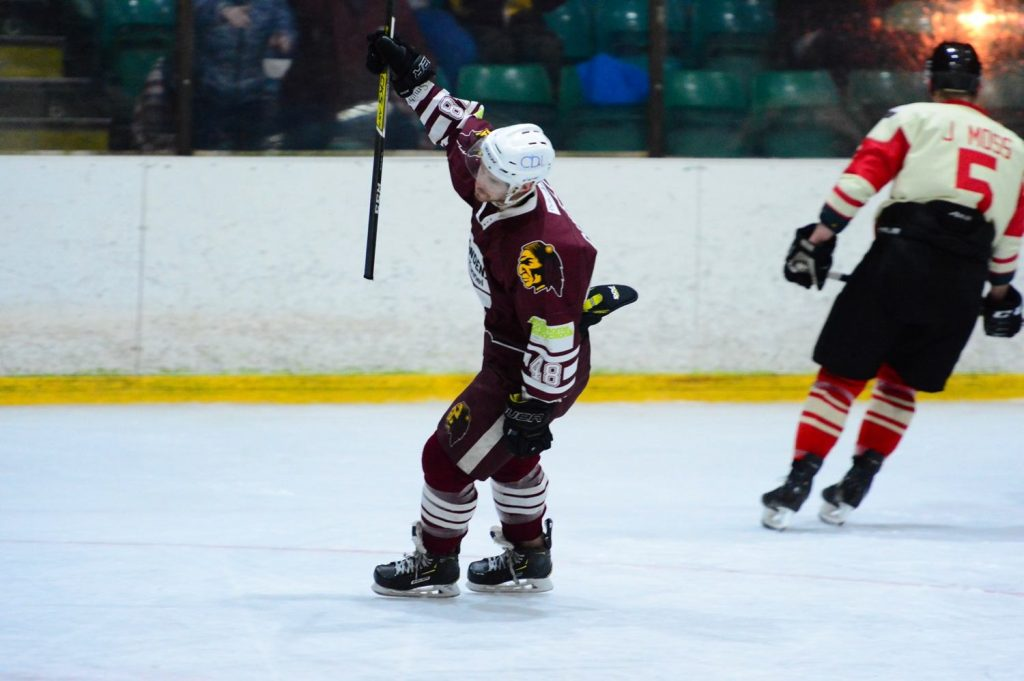 Ben Campbell celebrates his first goal of the night for Whitley to go ahead 2-1