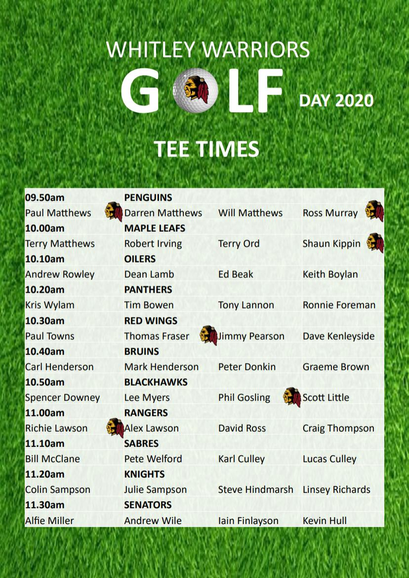 Golf Day 2020 tee times (page 1)